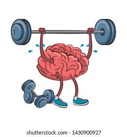 Brain with lifting weight and dumbbells cartoons vector illustration graphic design