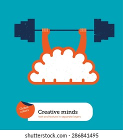 Brain lifting weight. Vector illustration Eps10 file. Global colors&layers.