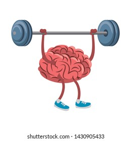 Brain lifting weights cartoon vector illustration graphic design