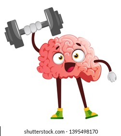Brain lifting weights, illustration, vector on white background.