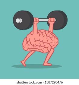 brain Lifting Weights over head cartoon