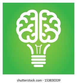 Brain light bulb green icon vector illustration.