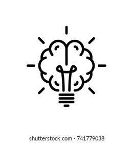 Brain light bulb icon vector
