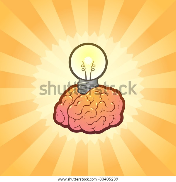 Brain Light bulb Idea Inspiration with Brilliant Background, Stylish Vector Illustration