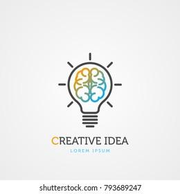 Brain light bulb symbol. Creative idea. Vector illustration