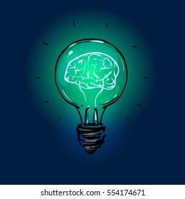 brain in a lightbulb, idea concept, sketch style, color vector illustration