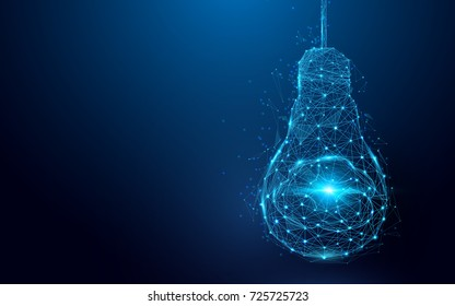 Brain in a lightbulb from lines and triangles, point connecting network on blue background. Illustration vector