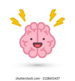 Brain With Lightening Bolts Cartoon Vector Illustration