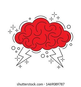 Brain with lightning. Brainstorm icon vector illustration.