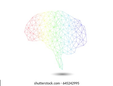 Brain - Line art with color and shadow
