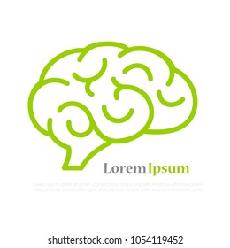 Brain line vector icon isolated on white background