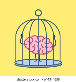 Brain locked in cage. Vector concept illustration of captive and imprisoned mind | flat design linear infographic icon on yellow background