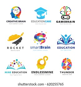 Brain logo and Creative learning icon set. Vector illustrations