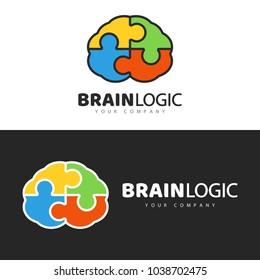 Brain Logo design, concept brain puzzle. Vector symbol, badge, logo.