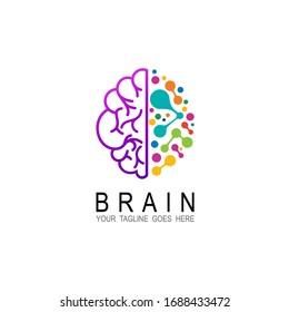 Brain logo design illustration, Education logo