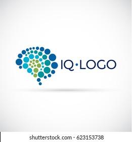 Brain logo. High IQ level concept logo.
