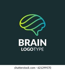 Brain logo. Brain icon. Brainstorm icon.Logo ideas. Brain vector. Psychology logo. Brain silhouette. Business icon. Creation and idea icons and elements. Think idea concept. Network icon. Network logo