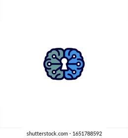 Brain logo lock key neuron security network