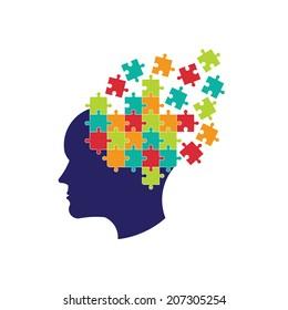 Brain logo puzzle. Vector icon