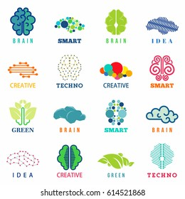 Brain logo, signs and symbols set. Collection of brain icons concept of human mind, creativity. Isolated. Vector illustration