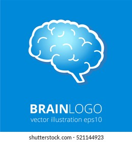 Brain logo silhouette in blue colors on blue background. Top view. Vector human brain anatomy in flat style.