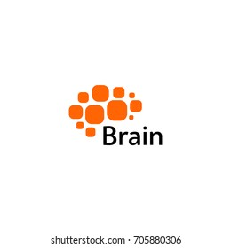 Brain Logo silhouette design vector template. Think Idea concept. Brain storm power thinking logotype icon. Isolated abstract unusual creative digital brainstorming idea symbol.