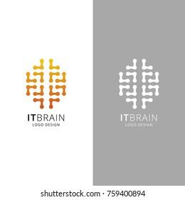 Brain Logo silhouette design vector template. Think idea concept. Smart power thinking brain Logotype icon Logo.