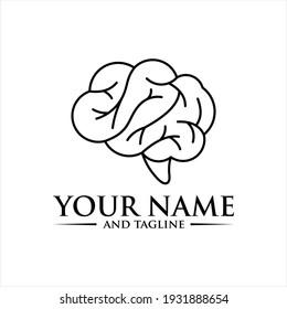 Brain Logo silhouette top view design vector template. Brainstorm think idea Logotype concept icon.