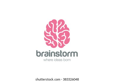 Brain Logo silhouette top view design vector template.  Brainstorm think idea Logotype concept icon.