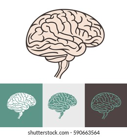 Brain Logo silhouette top view design vector template. Creative mind, learning and design. Human intelligent smart mind. Neurology symbol. Brainstorm think idea Logotype concept icon.