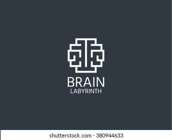 Brain Logo. Brain Logo sing. Brain Logo vector concept. Brain Logo for learning ,education.  Brain Logo isolated concept . Brain Logo emblem in geometric hipster style. Brain Logo - stock vector