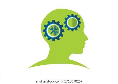brain logo vector design stock