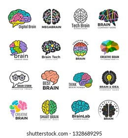Brain logotypes. Business concept of colored smart mind innovation creative vector colored symbols