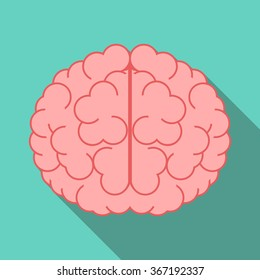Brain with long shadow on turquoise blue background. Flat style icon. Education, creativity, imagination, knowledge, mind, intelligence concept. EPS 8 vector illustration, no transparency