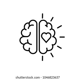 Brain with love icon