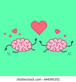 Brain in love. Vector concept illustration of two happy brains running to each other with heart symbols above   flat design linear infographic icon on green background