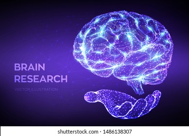 Brain. Low poly abstract digital human brain in hand. Neural network. IQ testing, artificial intelligence virtual emulation science technology concept. Brainstorm. 3D polygonal vector illustration.