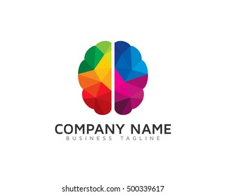 Brain Low Poly Color Logo Template