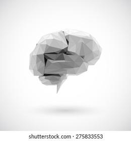 Brain low polygon, Idea concept background design for poster flyer cover brochure, business idea.