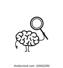 Brain with magnifying glass. Vector concept illustration searching brain | flat design linear infographic icon black on white background