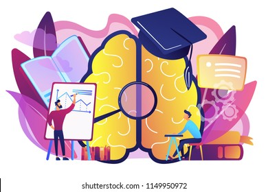 Brain with magnigier and academic cap and user learning. Learning style, learning and brain process, memory and knowledge, education and training concept, violet palette. Vector isolated illustration.