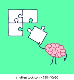 Brain making puzzle. Vector concept illustration of creative mind finding solution | flat design linear infographic icon on green background