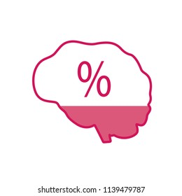 The brain of a man with a percent sign inside. A vector illustration.