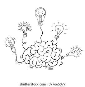 Brain and many idea light bulbs. Vector sketch