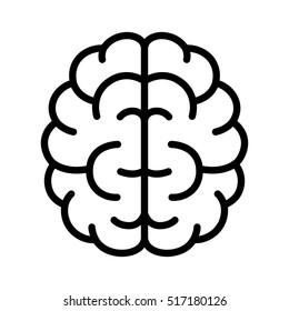 Brain, mind or intelligence line art vector icon for apps and websites