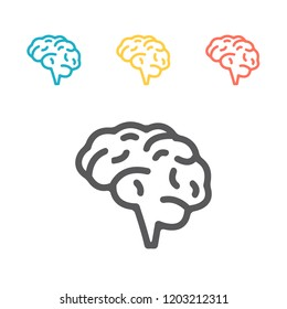 Brain, mind line icon for apps and websites. Vector signs