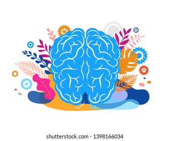 Brain, mind and mindfulness concept illustration. Vector background and poster with leaves and nature