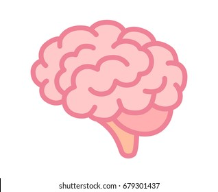 Brain or mind side view line art color vector icon for medical apps and websites