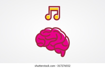 Brain with music icon