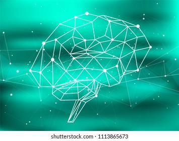 brain network on a green technological background, surrounded by information fields, neural networks, Internet networks - the concept of modern technology, biotechnology, artificial intelligence